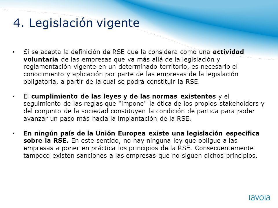 Si se acepta la definición de RSE que la considera como una actividad voluntaria de las empresas que va más allá de la legislación y reglamentación vi