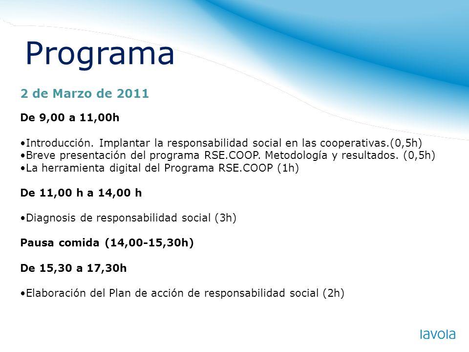 Programa 2 de Marzo de 2011 De 9,00 a 11,00h Introducción. Implantar la responsabilidad social en las cooperativas.(0,5h) Breve presentación del progr
