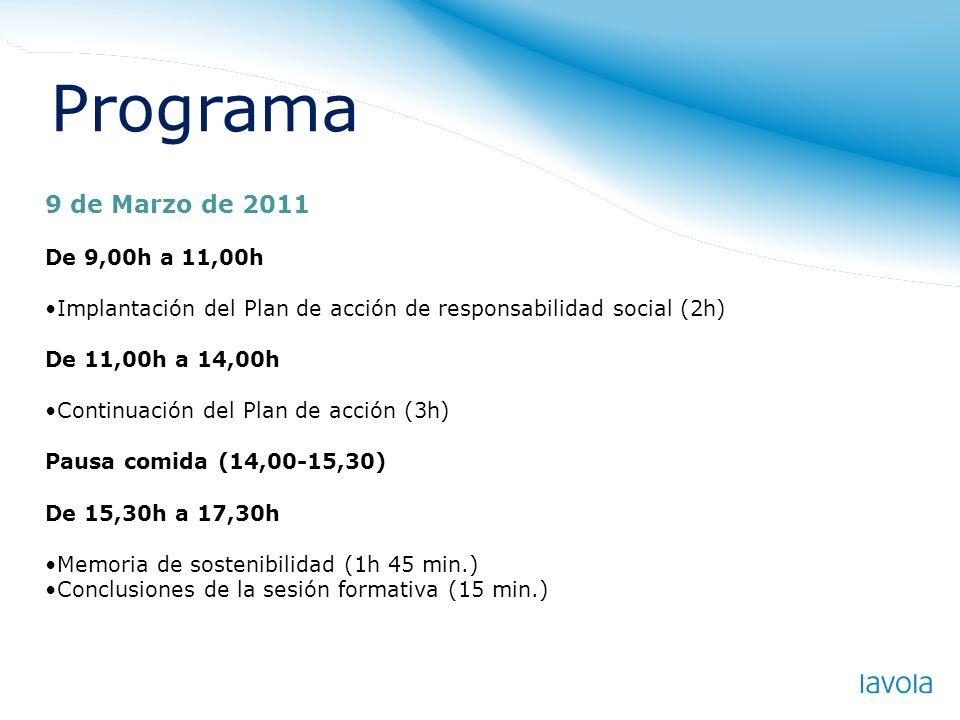 Programa 9 de Marzo de 2011 De 9,00h a 11,00h Implantación del Plan de acción de responsabilidad social (2h) De 11,00h a 14,00h Continuación del Plan