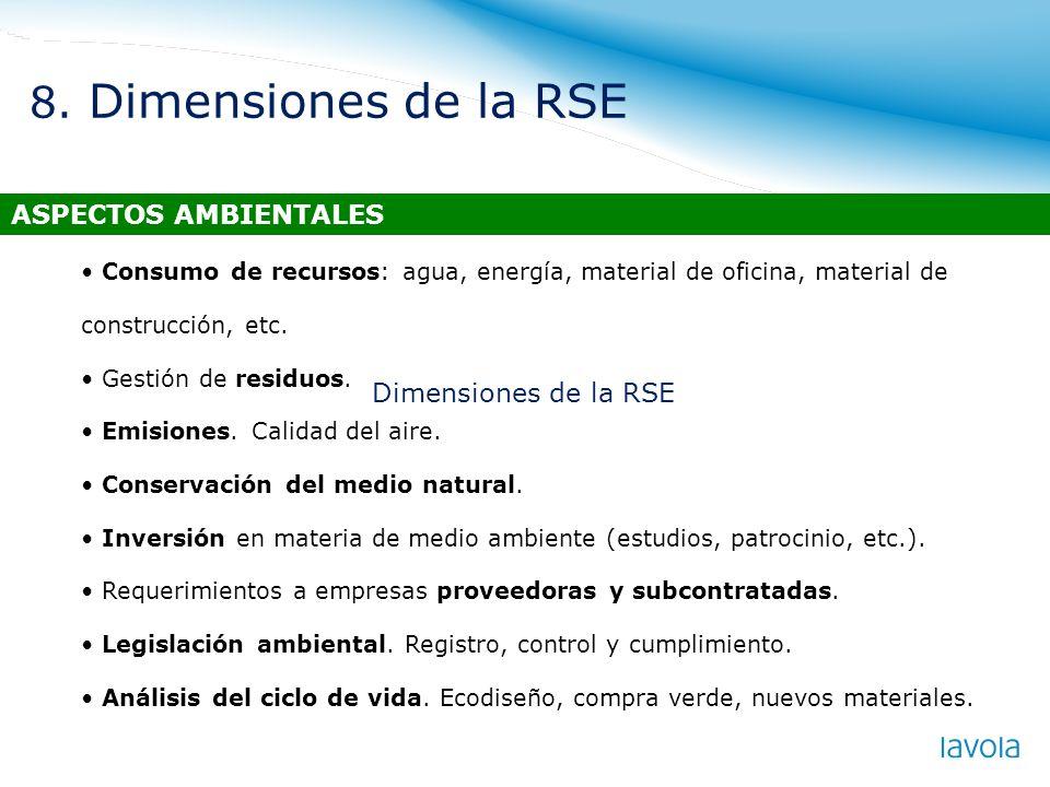 Consumo de recursos: agua, energía, material de oficina, material de construcción, etc. Gestión de residuos. Emisiones. Calidad del aire. Conservación