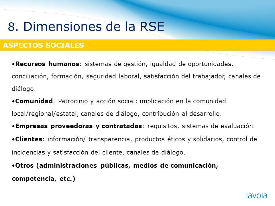 ASPECTOS SOCIALES Recursos humanos: sistemas de gestión, igualdad de oportunidades, conciliación, formación, seguridad laboral, satisfacción del traba