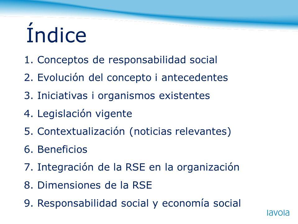 Índice 1. Conceptos de responsabilidad social 2. Evolución del concepto i antecedentes 3. Iniciativas i organismos existentes 4. Legislación vigente 5