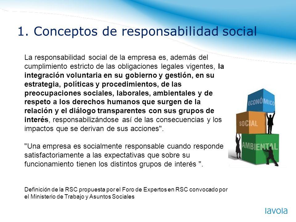 La responsabilidad social de la empresa es, además del cumplimiento estricto de las obligaciones legales vigentes, la integración voluntaria en su gob