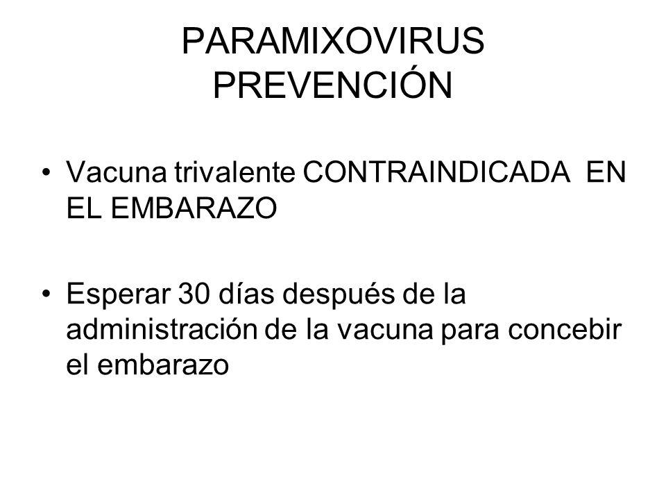 PARAMIXOVIRUS PREVENCIÓN Vacuna trivalente CONTRAINDICADA EN EL EMBARAZO Esperar 30 días después de la administración de la vacuna para concebir el em