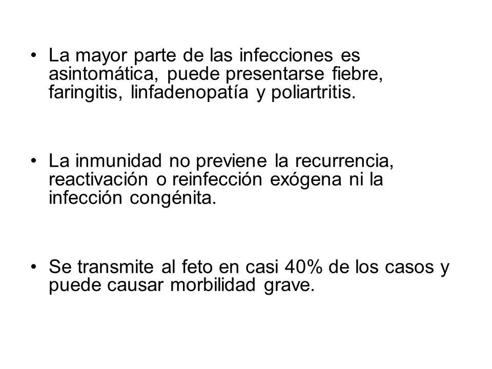 La mayor parte de las infecciones es asintomática, puede presentarse fiebre, faringitis, linfadenopatía y poliartritis. La inmunidad no previene la re