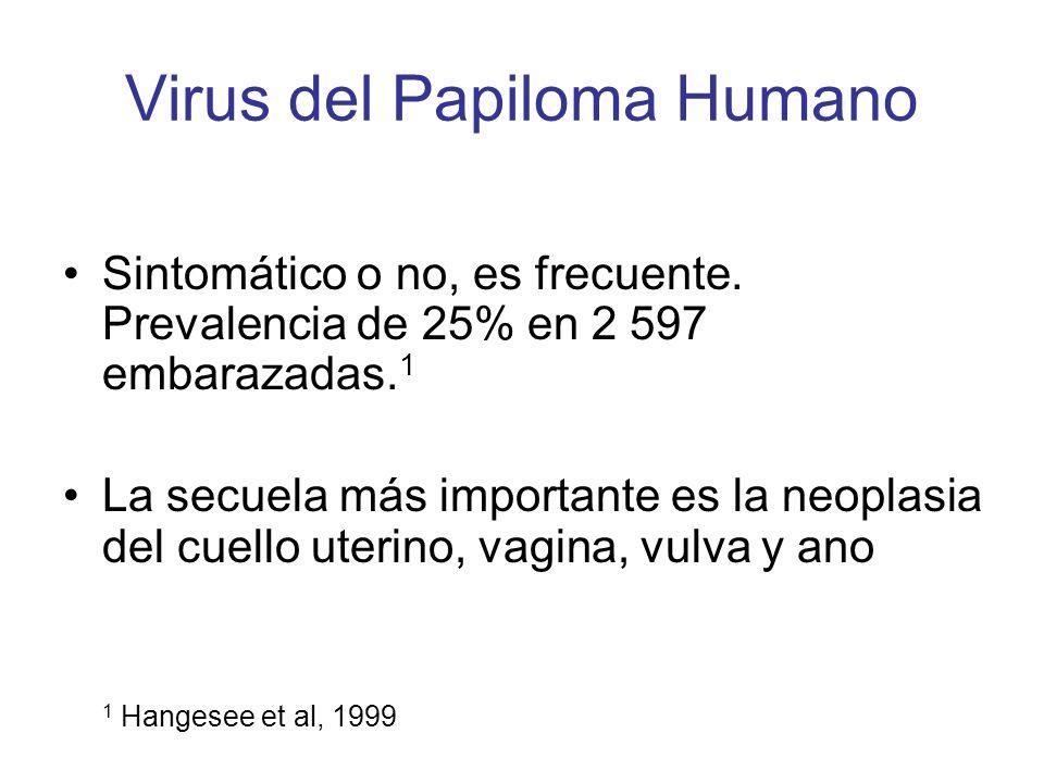 Virus del Papiloma Humano Sintomático o no, es frecuente. Prevalencia de 25% en 2 597 embarazadas. 1 La secuela más importante es la neoplasia del cue