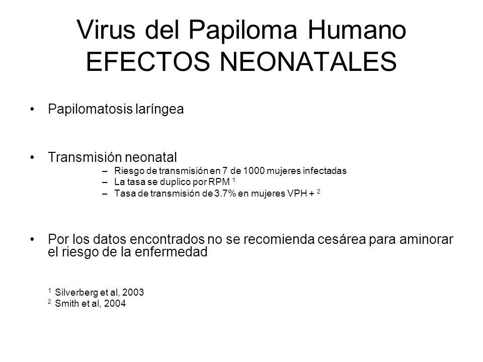 Virus del Papiloma Humano EFECTOS NEONATALES Papilomatosis laríngea Transmisión neonatal –Riesgo de transmisión en 7 de 1000 mujeres infectadas –La ta