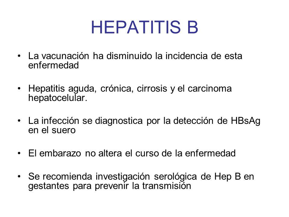 HEPATITIS B La vacunación ha disminuido la incidencia de esta enfermedad Hepatitis aguda, crónica, cirrosis y el carcinoma hepatocelular. La infección