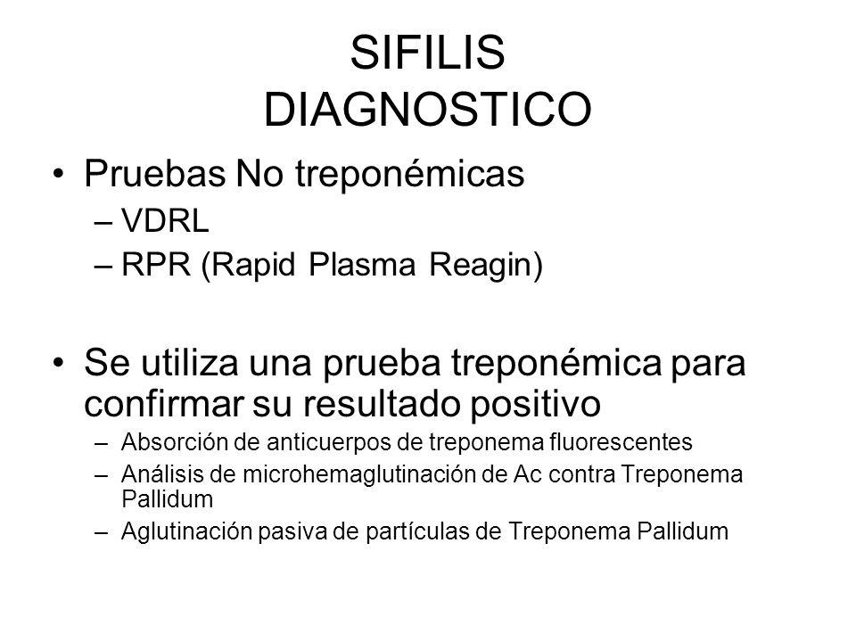 SIFILIS DIAGNOSTICO Pruebas No treponémicas –VDRL –RPR (Rapid Plasma Reagin) Se utiliza una prueba treponémica para confirmar su resultado positivo –A
