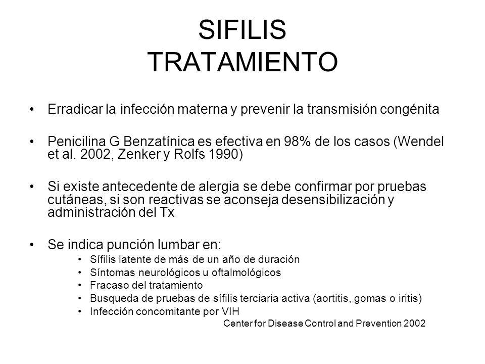 SIFILIS TRATAMIENTO Erradicar la infección materna y prevenir la transmisión congénita Penicilina G Benzatínica es efectiva en 98% de los casos (Wende