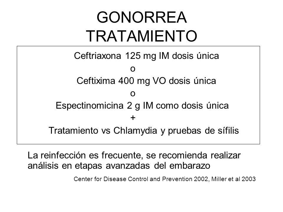 GONORREA TRATAMIENTO Ceftriaxona 125 mg IM dosis única o Ceftixima 400 mg VO dosis única o Espectinomicina 2 g IM como dosis única + Tratamiento vs Ch