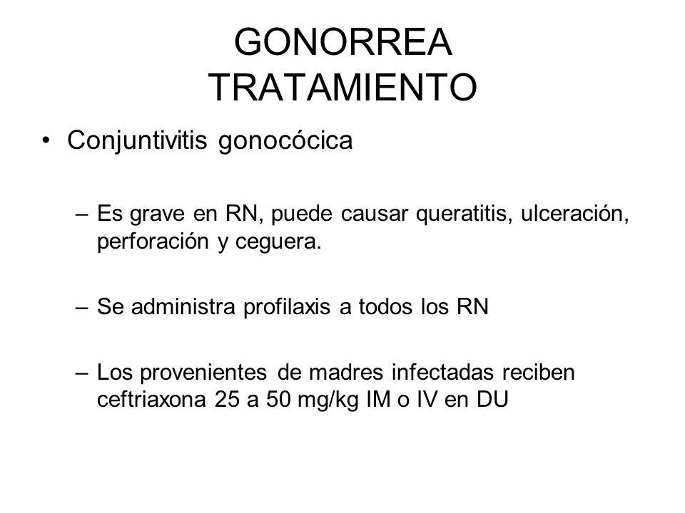 Conjuntivitis gonocócica –Es grave en RN, puede causar queratitis, ulceración, perforación y ceguera. –Se administra profilaxis a todos los RN –Los pr