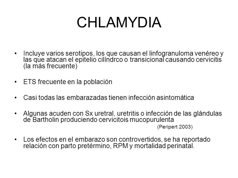CHLAMYDIA Incluye varios serotipos, los que causan el linfogranuloma venéreo y las que atacan el epitelio cilíndrco o transicional causando cervicitis