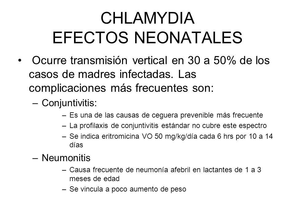 CHLAMYDIA EFECTOS NEONATALES Ocurre transmisión vertical en 30 a 50% de los casos de madres infectadas. Las complicaciones más frecuentes son: –Conjun