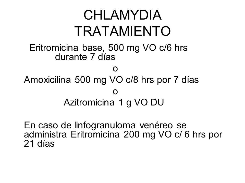 CHLAMYDIA TRATAMIENTO Eritromicina base, 500 mg VO c/6 hrs durante 7 días o Amoxicilina 500 mg VO c/8 hrs por 7 días o Azitromicina 1 g VO DU En caso