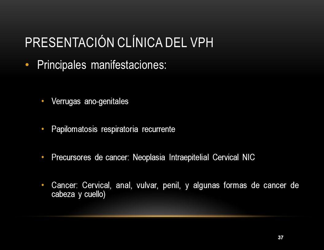 37 PRESENTACIÓN CLÍNICA DEL VPH Principales manifestaciones: Verrugas ano-genitales Papilomatosis respiratoria recurrente Precursores de cancer: Neopl