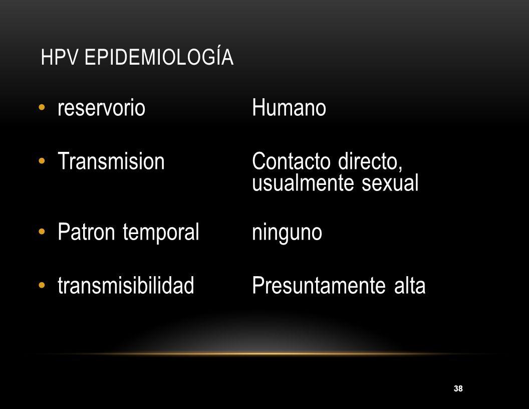 38 HPV EPIDEMIOLOGÍA reservorioHumano TransmisionContacto directo, usualmente sexual Patron temporalninguno transmisibilidadPresuntamente alta