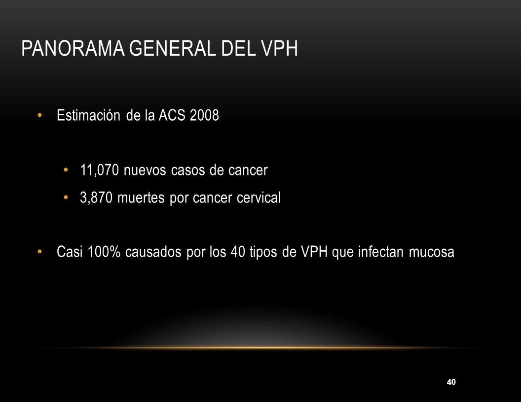40 PANORAMA GENERAL DEL VPH Estimación de la ACS 2008 11,070 nuevos casos de cancer 3,870 muertes por cancer cervical Casi 100% causados por los 40 ti