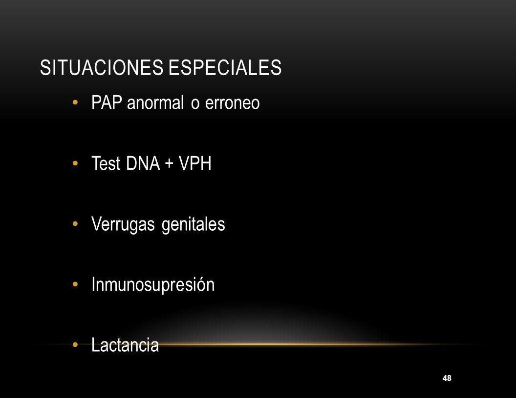48 SITUACIONES ESPECIALES PAP anormal o erroneo Test DNA + VPH Verrugas genitales Inmunosupresión Lactancia