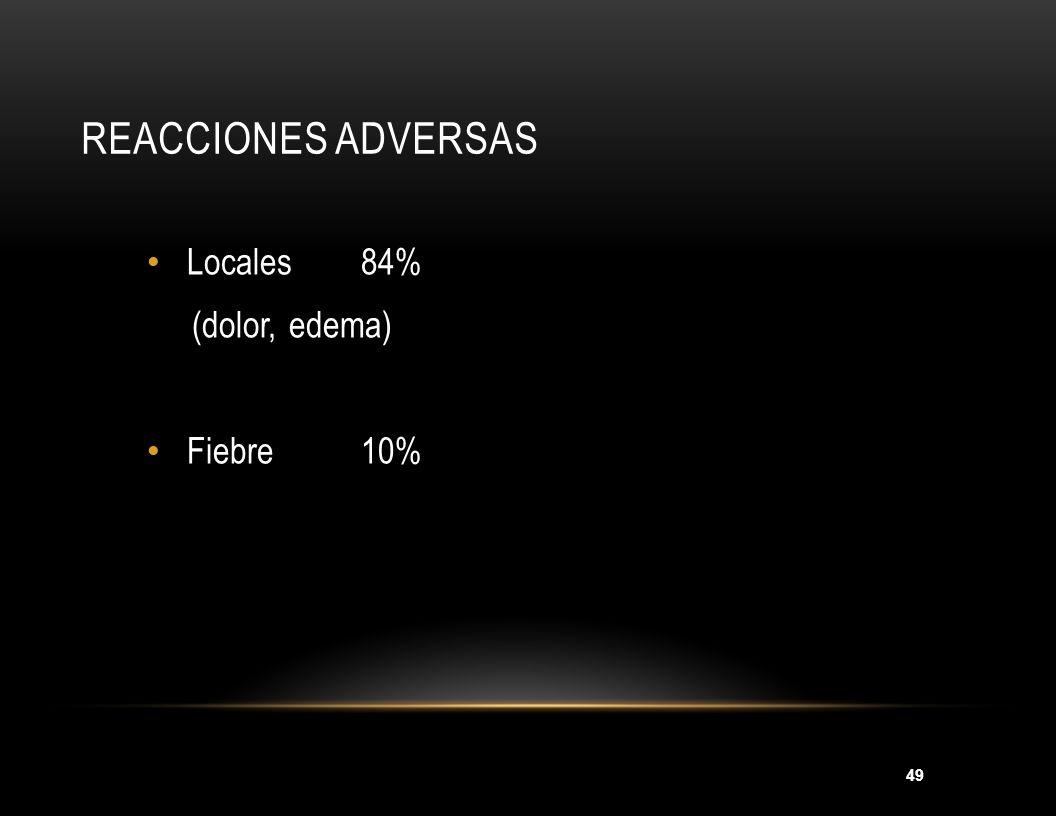49 REACCIONES ADVERSAS Locales84% (dolor, edema) Fiebre 10%