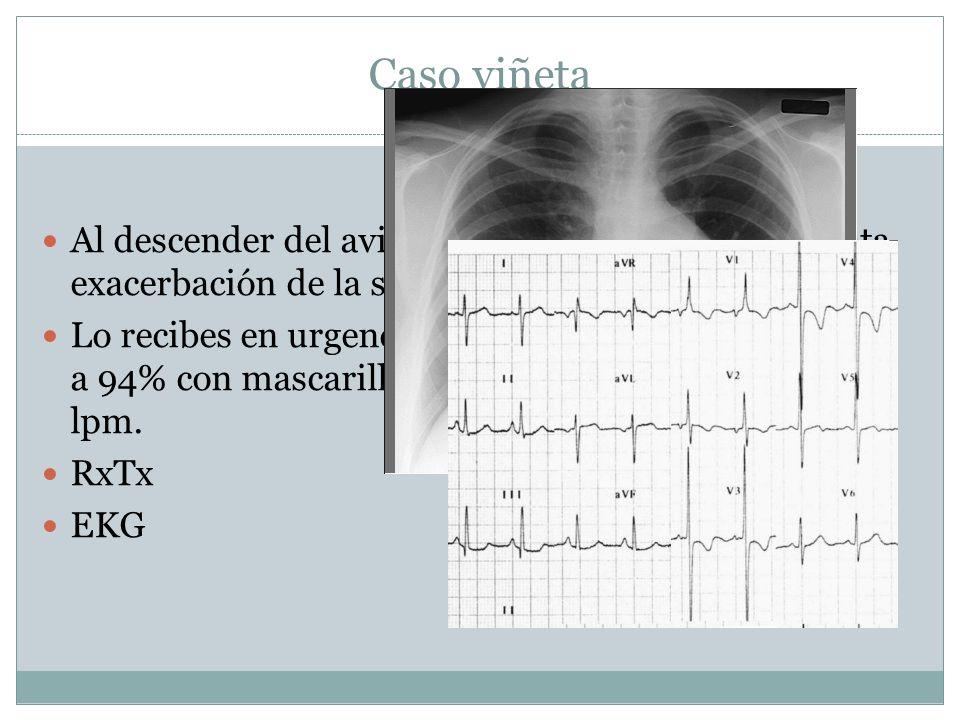 Caso viñeta Al descender del avión en la Cd. de Mexico presenta exacerbación de la sintomatología. Lo recibes en urgencias con SO2 78% aa que corrige