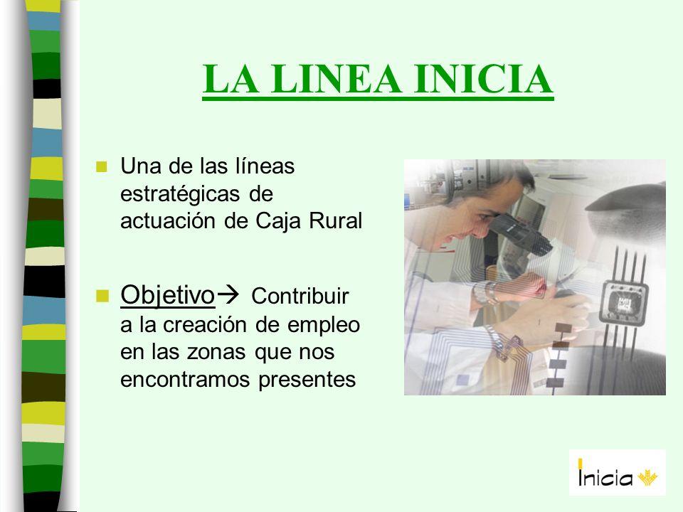 LA LINEA INICIA Una de las líneas estratégicas de actuación de Caja Rural Objetivo Contribuir a la creación de empleo en las zonas que nos encontramos presentes