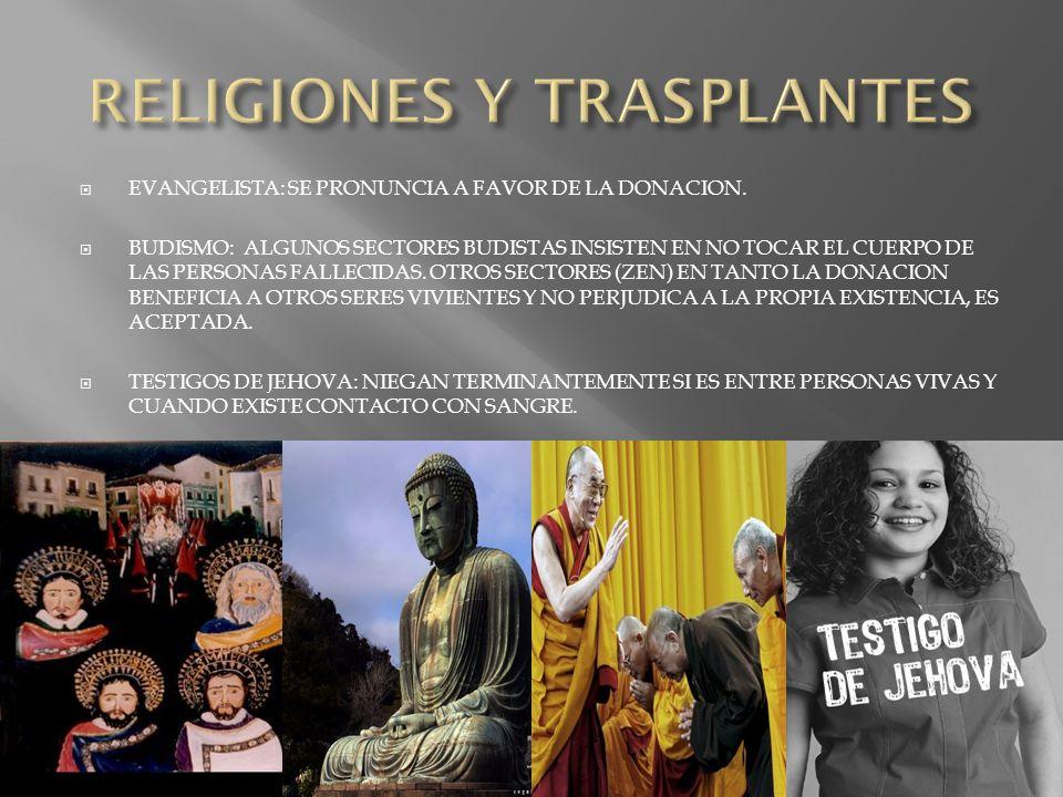 EVANGELISTA: SE PRONUNCIA A FAVOR DE LA DONACION. BUDISMO: ALGUNOS SECTORES BUDISTAS INSISTEN EN NO TOCAR EL CUERPO DE LAS PERSONAS FALLECIDAS. OTROS