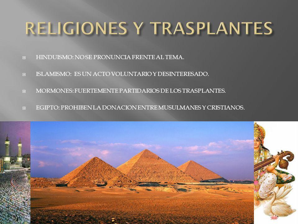 PRACTICAMENTE TODAS LAS RELIGIONES APOYAN LOS TRASPLANTES.