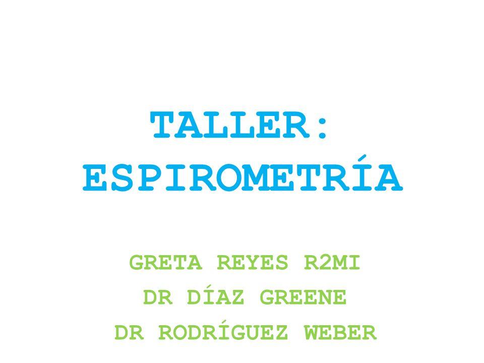 TALLER: ESPIROMETRÍA GRETA REYES R2MI DR DÍAZ GREENE DR RODRÍGUEZ WEBER