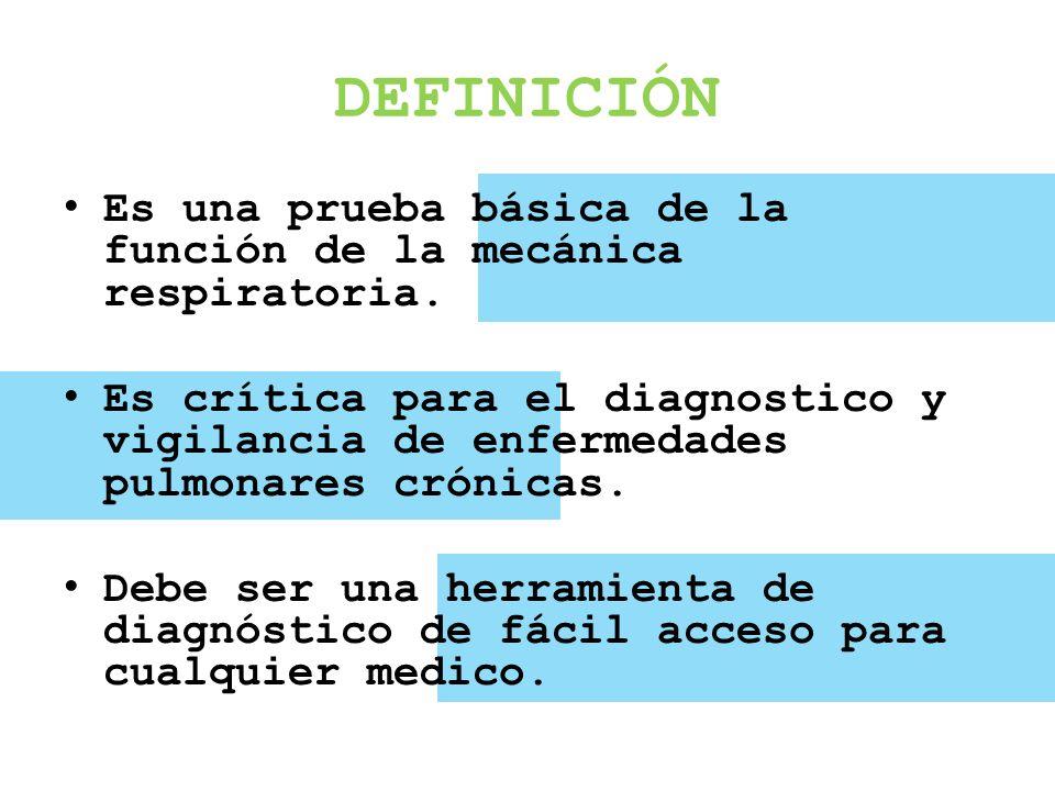 DEFINICIÓN Es una prueba básica de la función de la mecánica respiratoria. Es crítica para el diagnostico y vigilancia de enfermedades pulmonares crón