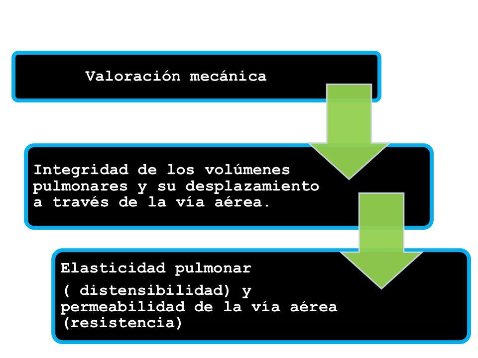 Valoración mecánica Integridad de los volúmenes pulmonares y su desplazamiento a través de la vía aérea. Elasticidad pulmonar ( distensibilidad) y per
