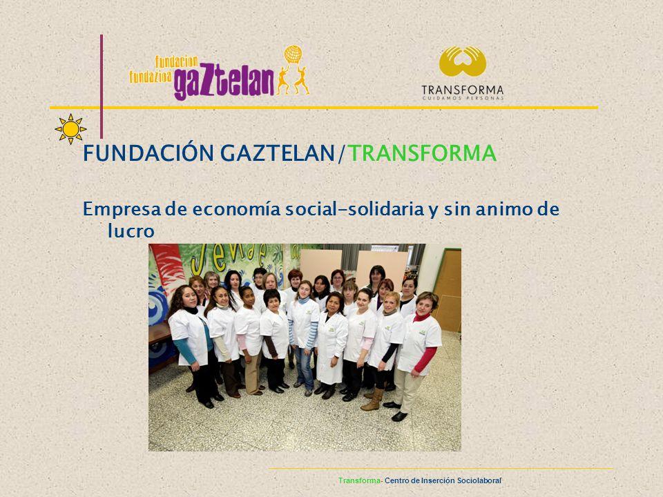 FUNDACIÓN GAZTELAN/TRANSFORMA Empresa de economía social-solidaria y sin animo de lucro Transforma- Centro de Inserción Sociolaboral