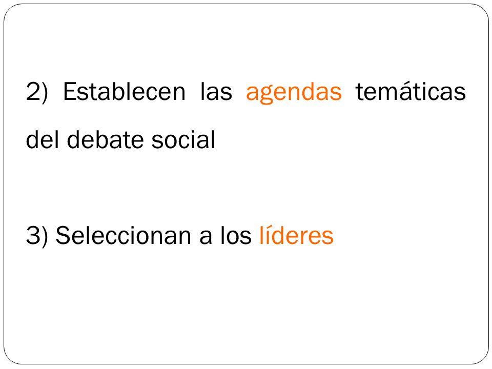 2) Establecen las agendas temáticas del debate social 3) Seleccionan a los líderes