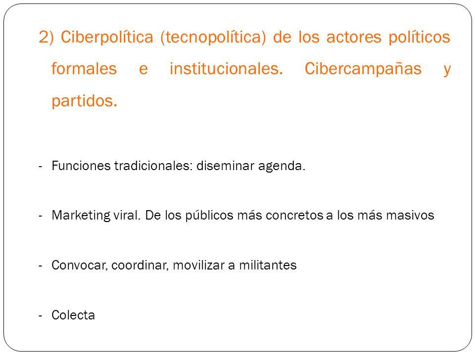 2) Ciberpolítica (tecnopolítica) de los actores políticos formales e institucionales. Cibercampañas y partidos. -Funciones tradicionales: diseminar ag