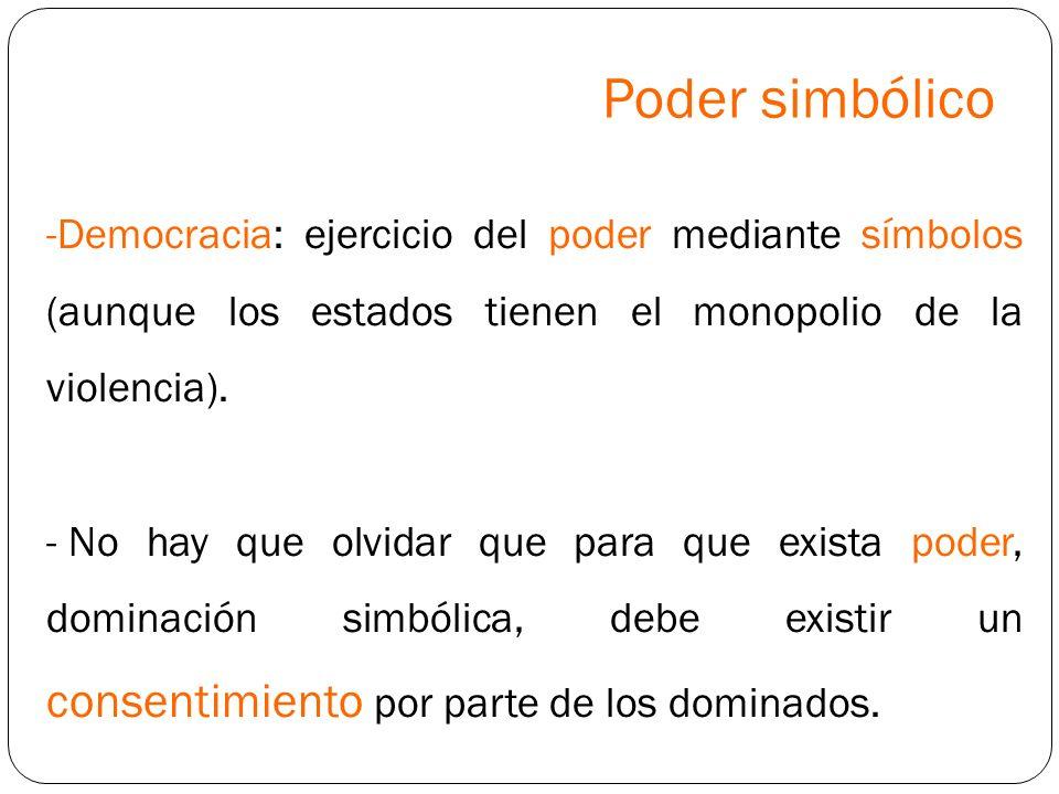Poder simbólico -Democracia: ejercicio del poder mediante símbolos (aunque los estados tienen el monopolio de la violencia). - No hay que olvidar que
