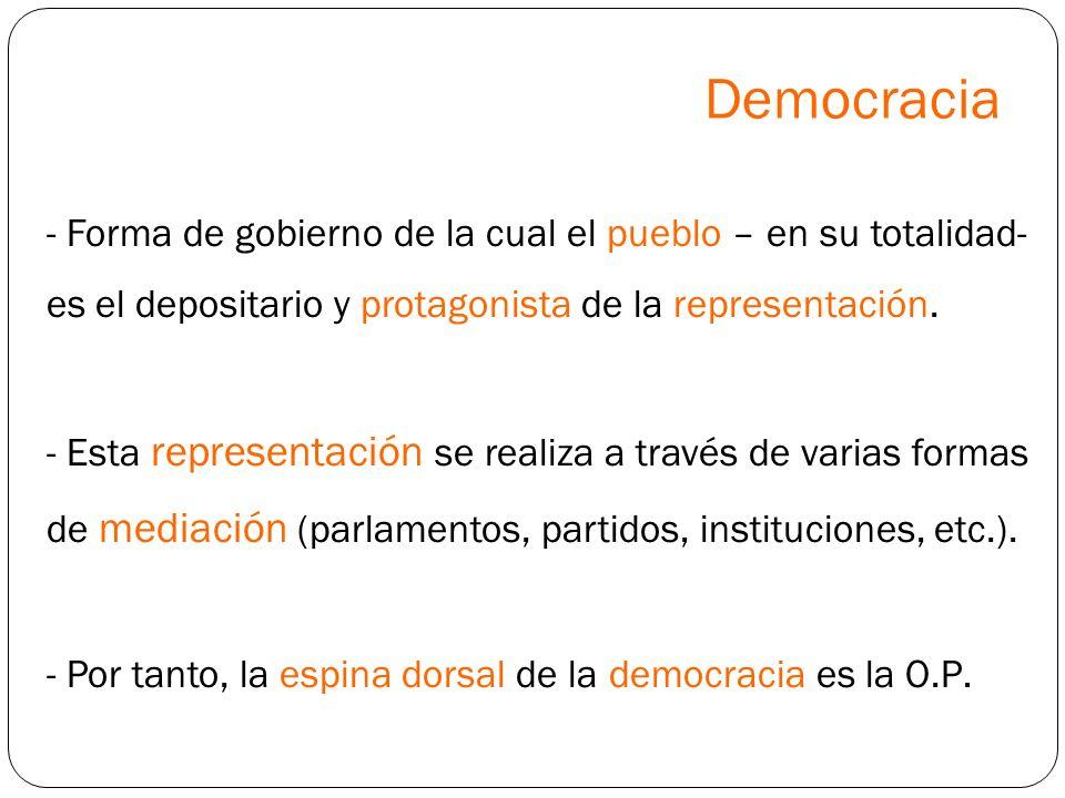 Democracia - Forma de gobierno de la cual el pueblo – en su totalidad- es el depositario y protagonista de la representación. - Esta representación se