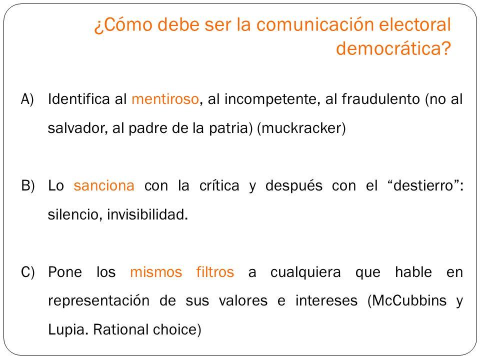 ¿Cómo debe ser la comunicación electoral democrática? A)Identifica al mentiroso, al incompetente, al fraudulento (no al salvador, al padre de la patri