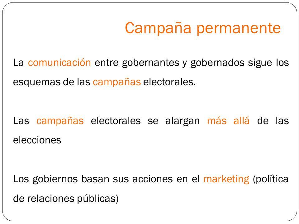 Campaña permanente La comunicación entre gobernantes y gobernados sigue los esquemas de las campañas electorales. Las campañas electorales se alargan