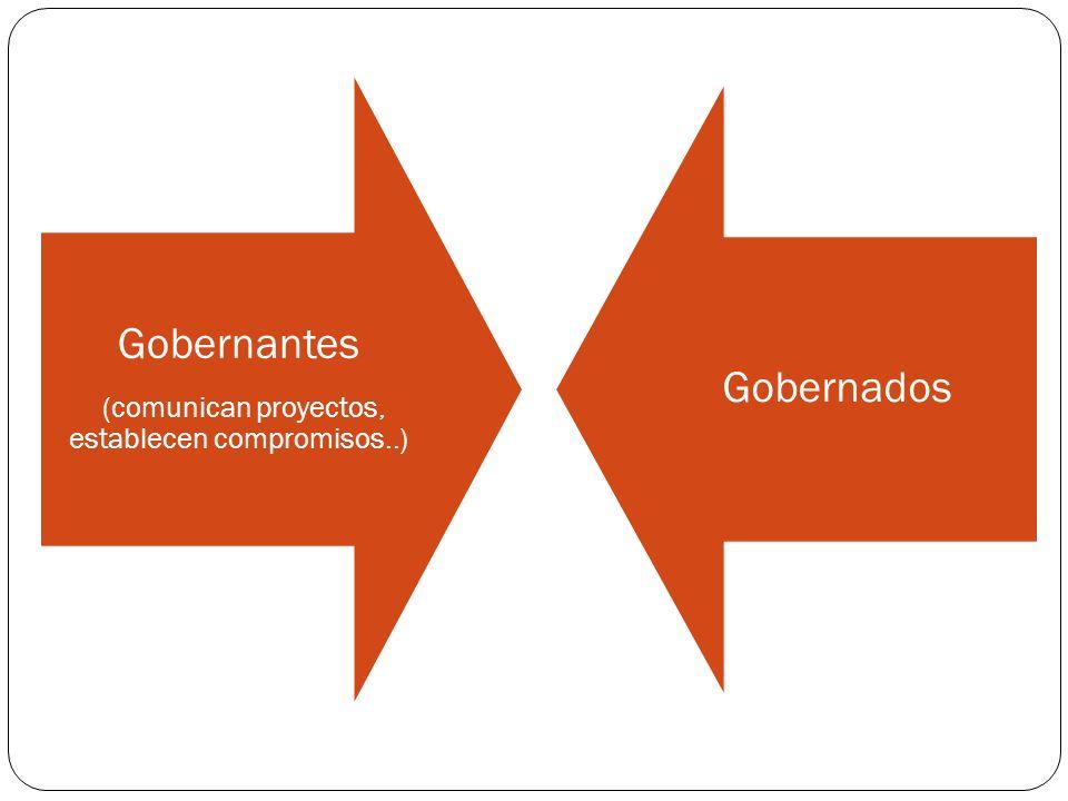Gobernantes (comunican proyectos, establecen compromisos..) Gobernados