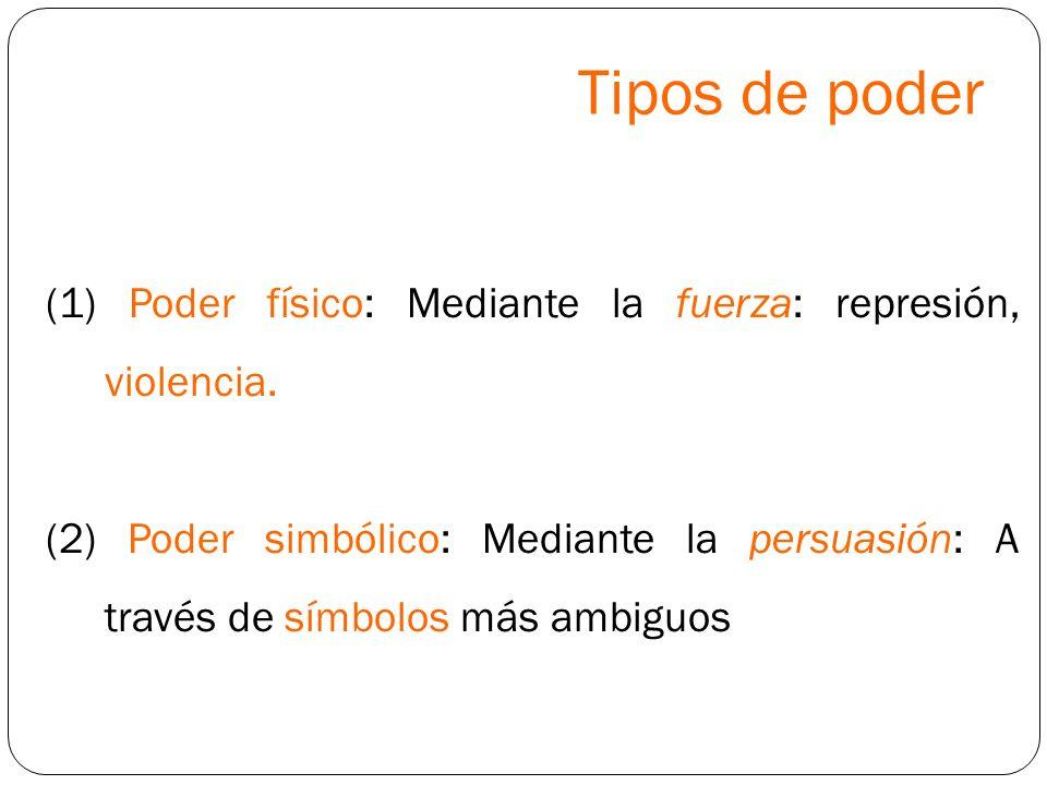 Tipos de poder (1) Poder físico: Mediante la fuerza: represión, violencia. (2) Poder simbólico: Mediante la persuasión: A través de símbolos más ambig