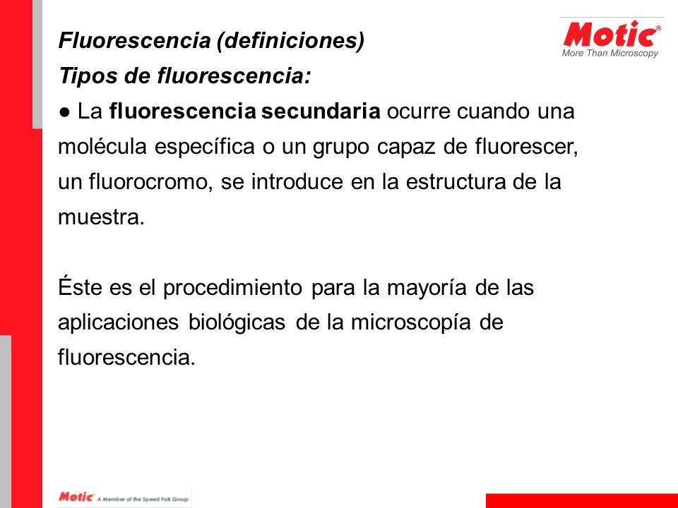 Fluorescencia (definiciones) Tipos de fluorescencia: La fluorescencia secundaria ocurre cuando una molécula específica o un grupo capaz de fluorescer,