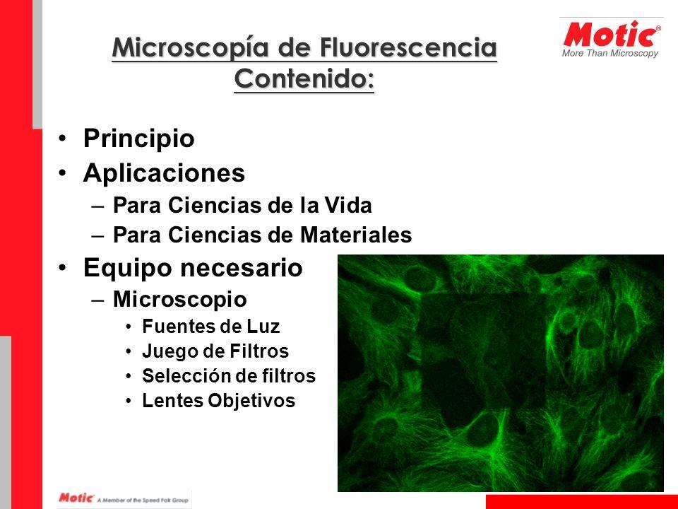 Microscopía de Fluorescencia Contenido: Principio Aplicaciones –Para Ciencias de la Vida –Para Ciencias de Materiales Equipo necesario –Microscopio Fu