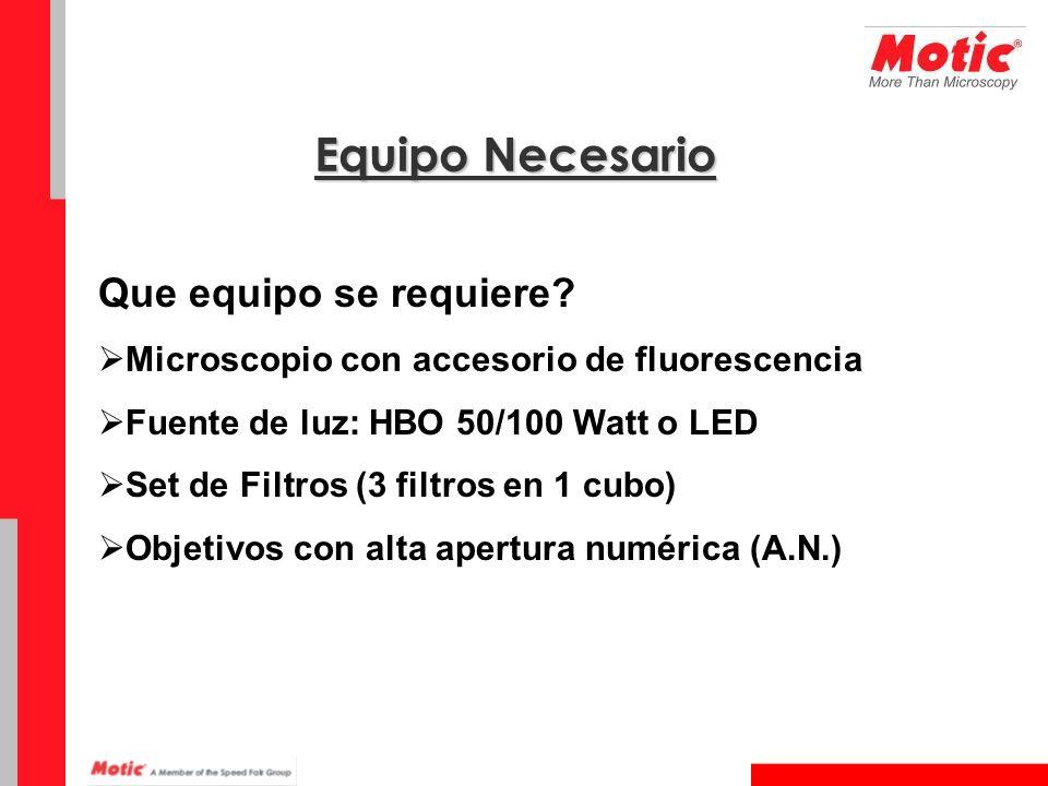 Que equipo se requiere? Microscopio con accesorio de fluorescencia Fuente de luz: HBO 50/100 Watt o LED Set de Filtros (3 filtros en 1 cubo) Objetivos