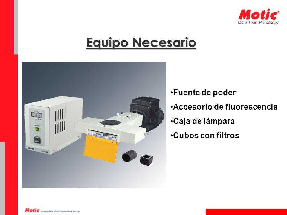 Fuente de poder Accesorio de fluorescencia Caja de lámpara Cubos con filtros Equipo Necesario