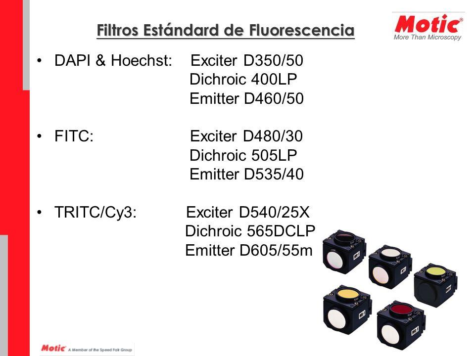 Filtros Estándard de Fluorescencia DAPI & Hoechst: Exciter D350/50 Dichroic 400LP Emitter D460/50 FITC: Exciter D480/30 Dichroic 505LP Emitter D535/40