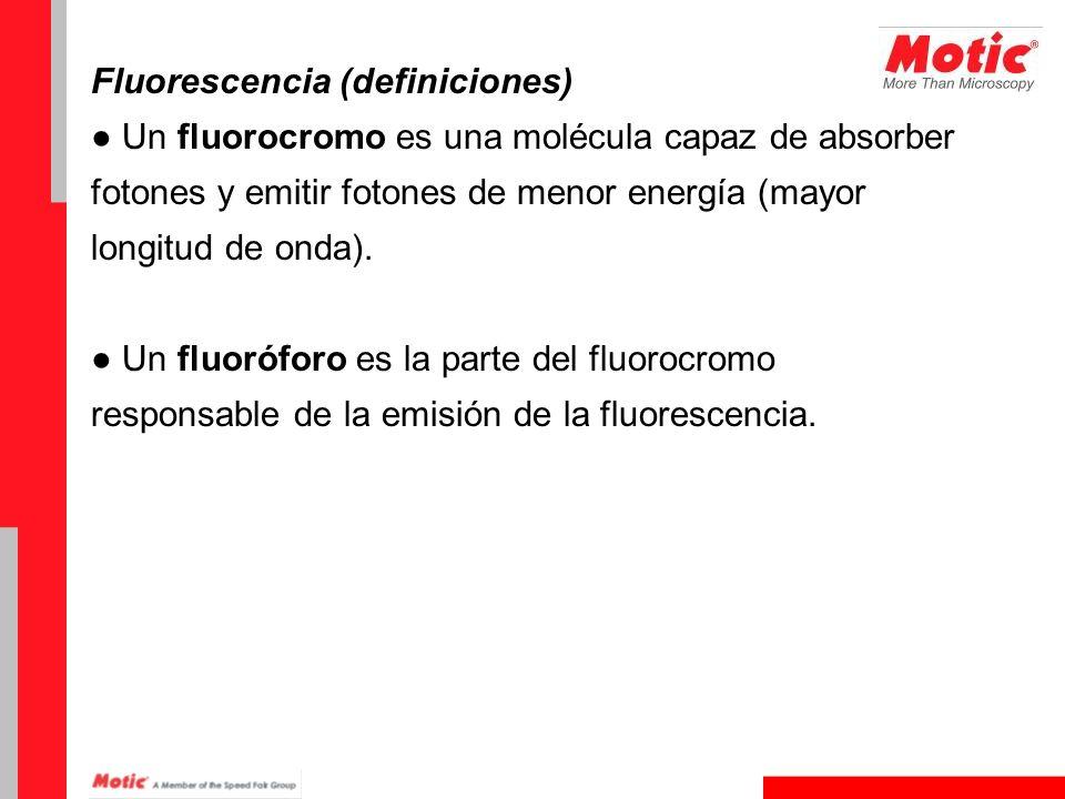 Fluorescencia (definiciones) Un fluorocromo es una molécula capaz de absorber fotones y emitir fotones de menor energía (mayor longitud de onda). Un f