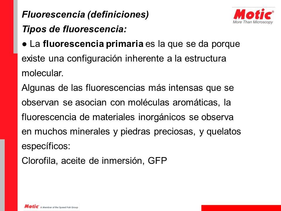 Fluorescencia (definiciones) Tipos de fluorescencia: La fluorescencia primaria es la que se da porque existe una configuración inherente a la estructu