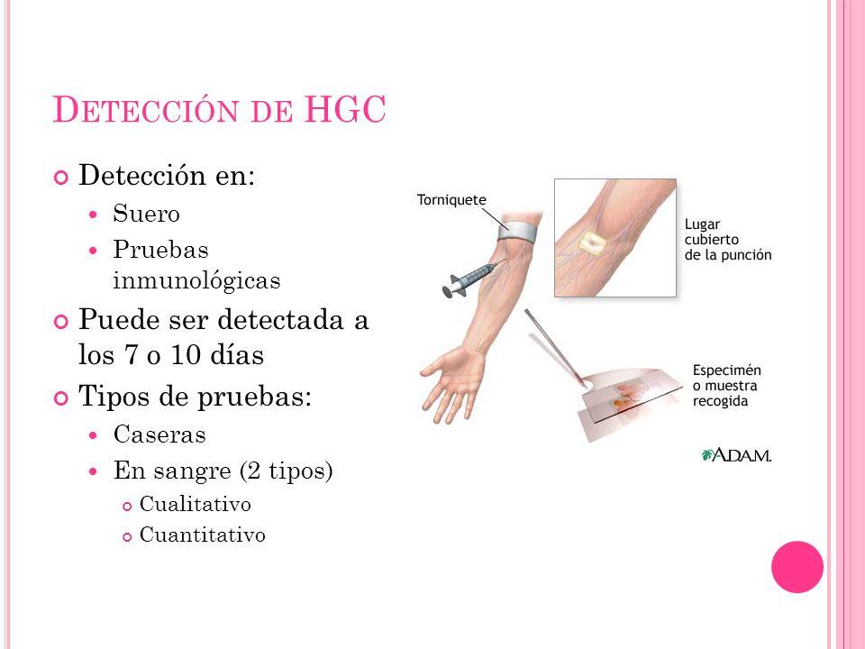D ETECCIÓN DE HGC Detección en: Suero Pruebas inmunológicas Puede ser detectada a los 7 o 10 días Tipos de pruebas: Caseras En sangre (2 tipos) Cualitativo Cuantitativo