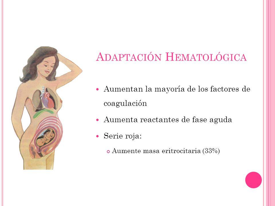 A DAPTACIÓN H EMATOLÓGICA Aumentan la mayoría de los factores de coagulación Aumenta reactantes de fase aguda Serie roja: Aumente masa eritrocitaria (33%)