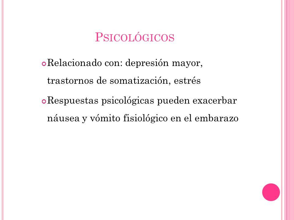 P SICOLÓGICOS Relacionado con: depresión mayor, trastornos de somatización, estrés Respuestas psicológicas pueden exacerbar náusea y vómito fisiológic